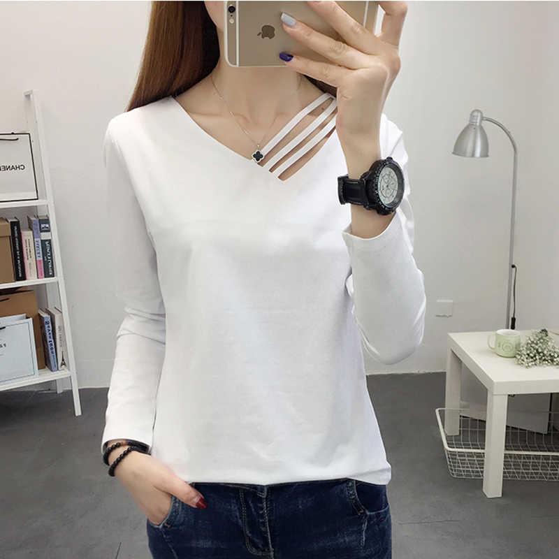 Jesień zima topy dla kobiet t shirt 2019 biały koszulkę femme haut t-shirt kobiety tshirt bawełniane koszulki mujer manga corta