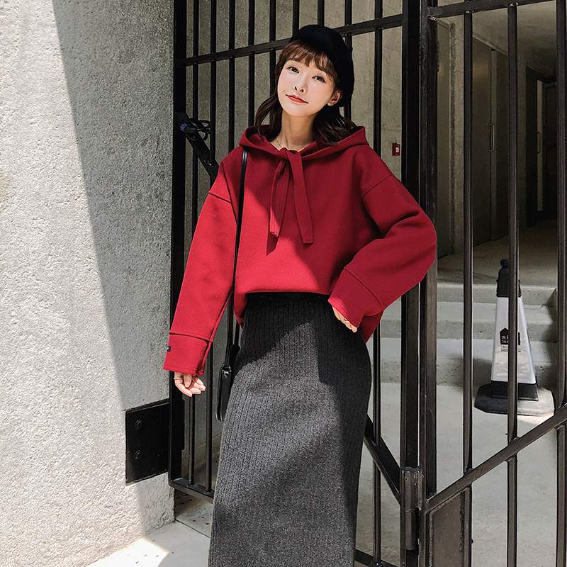 Hooded Pullover Hoody Women's Autumn And Winter New Style Loose-Fit Slimming Two-Piece Knitted Skirt-Style Set F5407