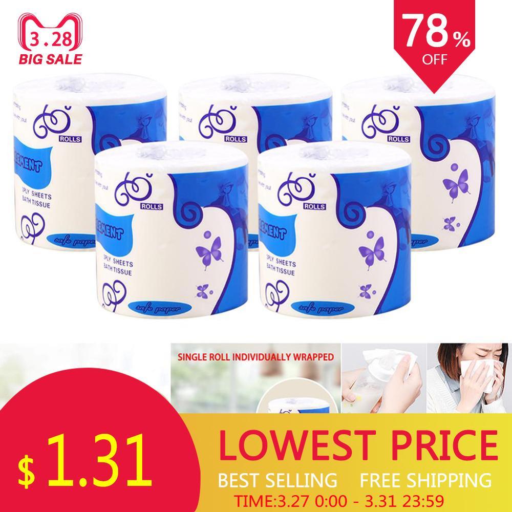 10 Rolls Toilet Paper Bulk Bath Tissue Bathroom Soft White 3 Ply Kitchen Soft 40P