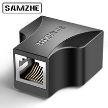 SAMZHE, adaptador de Cable Ethernet de 1 a 2 vías, extensor de Cable Lan para conexión de Cable de Internet, 1 entrada, 2 salidas