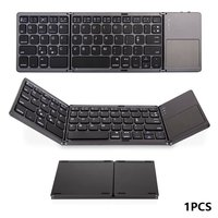 Mini Compact Triple Folding Keyboard Portable Cool Wireless Phone Tablet Keyboard With Mouse Touchpad