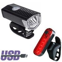 Luz LED para bicicleta resistente al agua, recargable vía USB, 300 lúmenes, faro delantero y trasero, accesorios para bicicleta, 2 uds.