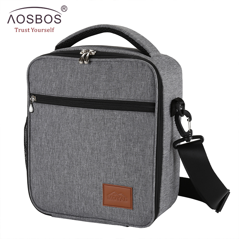 Aosbos Portable Cooler Lunch Bag Oxford Thermal Insulated Food Bags Tote Solid Food Picnic Lunch Box Bag For Men Women Kids