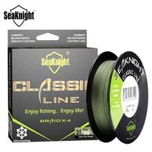 Seaknight clássico 300m 500 linha de pesca trançada 4 vertente pe linha trança multifilamento linha de pesca 6 8 10 15 20 30 40 50 60 80lb