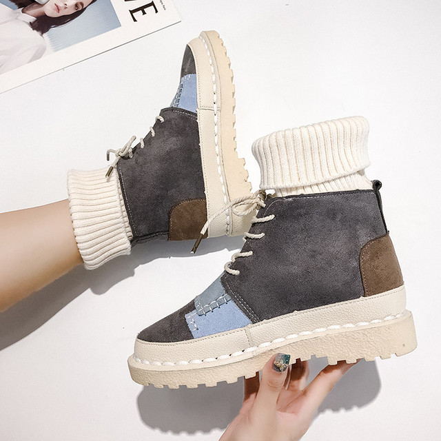 Sneaker Women Flats Flock Lacing Shoes Female Casual Shoes Fashion Sneakers Women High Top Lady Patcahwork Martin Boots 2