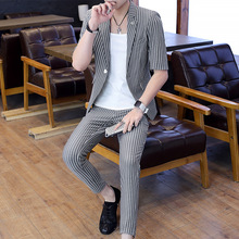 Mens Suits 2020 New Summer Mid - Sleeve with 9 - Cent Pants Stripe Two - Piece Fashion Slim Mens Suits with Pants