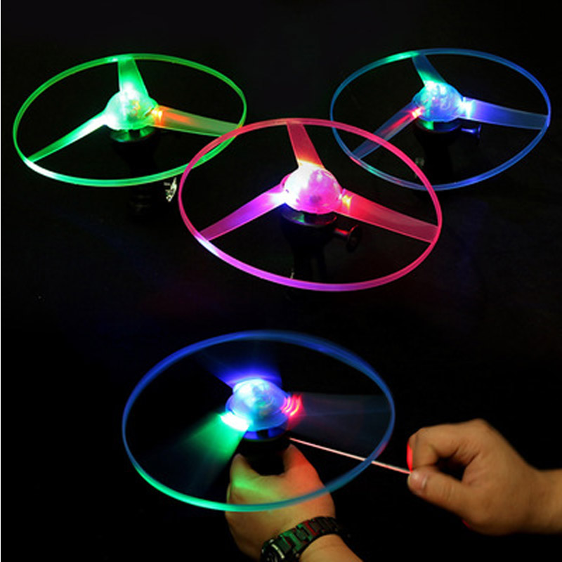 2019 Hot Sale Glow In The Dark Flashing Toys Funny Pull String UFO LED Light Up Flying Disc Colorful  Kids Toys For Children