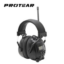 Protear NRR 25dB الإلكترونية السمع حامي AM FM راديو غطاء للأذنين سدادات حماية الأذن الإلكترونية الإلكترونية Earmuff