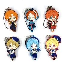 6pcs/lot Ensemble Stars Original Japanese anime figure rubber mobile phone charms keychain strap D456