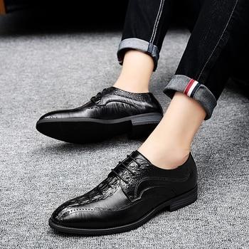 business men's shoes lace-up oxfords outdoor Men's fashion shoes Men's casual flats Classic men leather shoes Big Size 44