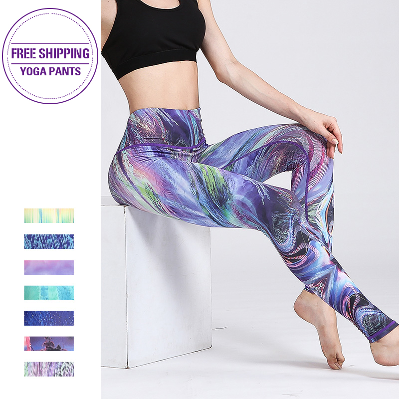 SEXY Fitness Yoga Pants High waist Sport Women Leggings Gym Elastic Prints Long Tights for Running Tummy Control 2019 Booty