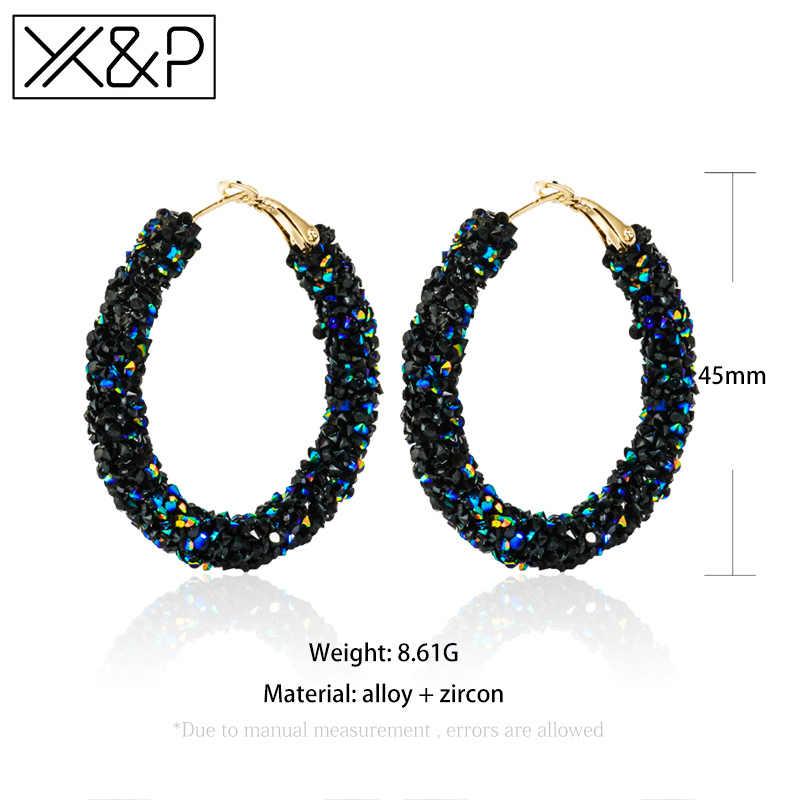 X & P nueva moda pendientes de cristal colgantes gota coreana para las mujeres Vintage austríaco Rhinestone redondo oro pendiente de la joyería de la boda