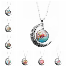 2019 New Hot Sale Beautiful Pink Flamingo Charm Pattern Moon Necklace Ladies Glass Cabochon Fashion Trend Moon Pendant Necklace цена