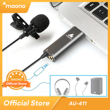 MAONO USB Lavalier Microphone Clip on Condenser Microphone Lapel Mic HandsFree Shirt Collar Microphone for Youtub Live Broadcast