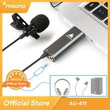 MAONO USB mikrofon krawatowy klip na mikrofon kondensujący klapa mikrofonu zestaw głośnomówiący koszula kołnierz mikrofon dla Youtub transmisja na żywo