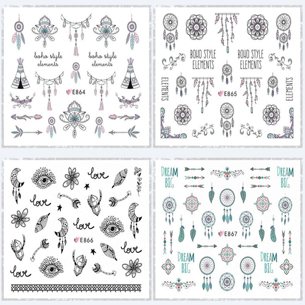 E864-874 Series 3D Suspender Strap Glue Nail Sticker Model Nail Sticker Dreamcatcher Manicure Flower Stickers