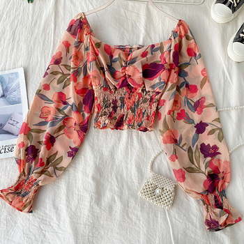 Vintage Ruffle Wrinkle Slash Neck Cropped Top 2020 Summer sexyShort Shirts Blouse Floral Lantern Sleeves Chiffon Blouse Camisa