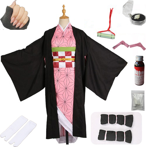 Лидер продаж; Новинка; аниме «Demon Slayer: Kimetsu no Yaiba»; Косплей; Kamado Nezuko; женская японская одежда; костюм для косплея - Цвет: package C