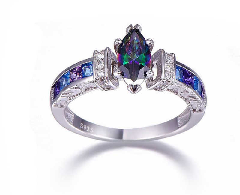 Yanhui シルバー 925 ジュエリー 925 リング女性オーバル虹火災ミスティックトパーズの宝石用原石アメジスト指輪ファインジュエリー