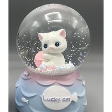 Gift Cute Cat Snow Globe & Music Box
