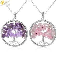 CSJA дерево жизни кулон ожерелье Серебряный с натуральным камнем-цвет проволока обертывание кварц осколок кристалла бисера цветок рейки ювелирные изделия для женщин G306