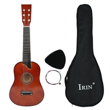IRIN 25 Inch Basswood Acoustic 12 Frets 6 Strings Guitar with Pick and Strings for Beginner Children Coffee Color