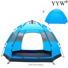 цена на 3-4 Person Outdoor Automatic Camping Tent Dual Layer Waterproof Pop Up Open Anti Uv Tourist Tent For Outdoor Hiking Beach Travel