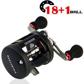 18+1BB 6.3:1 Trolling Fishing Reel Right/Left Hand Round Baitcasting Reel Coil Saltwater Trolling Carp Reel Pesca