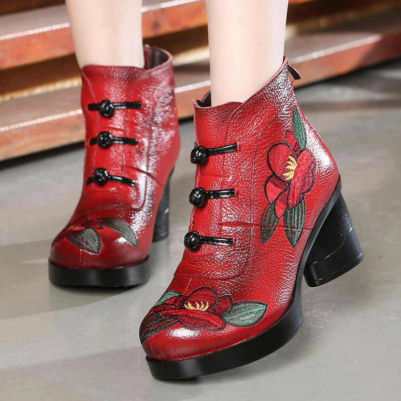 GKTINOO çiçek yarım çizmeler kadınlar için sonbahar kış hakiki deri bayan botları Retro el yapımı rahat yüksek topuklu ayakkabı