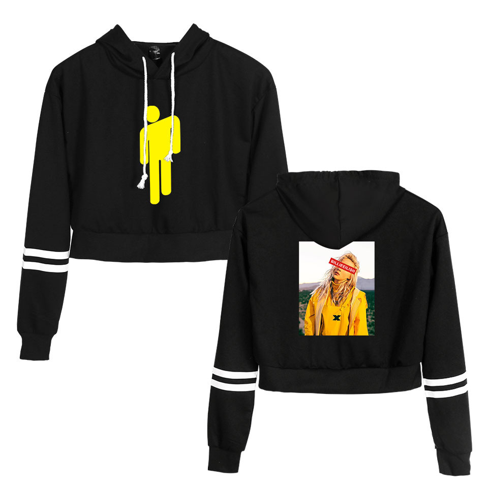 Image 2 - Koszula Billie Eilish bluza z kapturem Crop Top bluzy z długim rękawem Casual bluzy z kapturem ubrania z kapturem Harajuku swetry ubrania w Bluzy z kapturem i bluzy od Odzież damska na