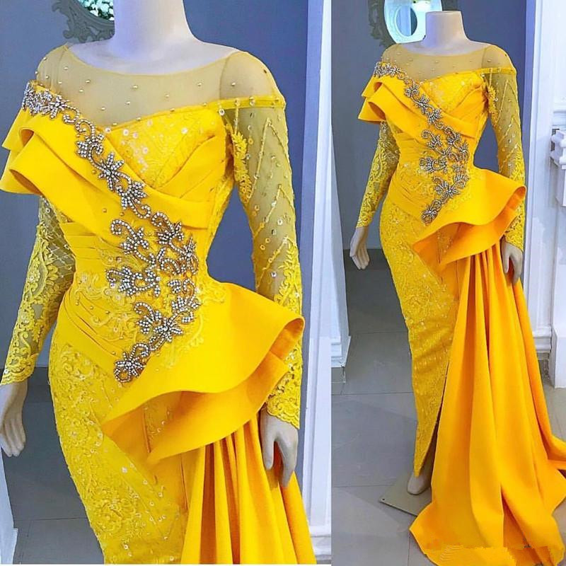 Aso Ebi Yellow Evening   Dresses   Lace Beaded Crystals sheer o-neck   Prom     Dresses   Long Sleeves Formal Party Pageant Gowns