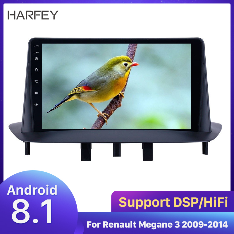 Harfey 9 inch Bluetooth GPS Navigation Car Radio <font><b>Android</b></font> 8.1 HD Touchscreen for Renault <font><b>Megane</b></font> <font><b>3</b></font> 2009-2014 support Carplay SWC image
