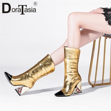 DORATASIA New Runway Show Leather mid-calf Boots Ladies Luxury Brand Women 2019 High Heels Shoes Woman 33-43