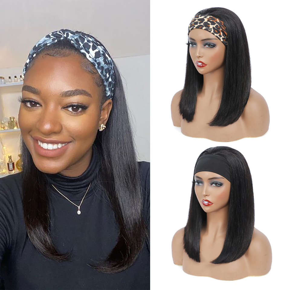 100%  Headband Scarf  Wig Straight Wave  Wig No plucking wigs for Women No Glue No Sew In 2