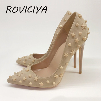 12cm High Heels Shoes Pointed Toe Women Pumps Five-pointed star Rivet Studded For Party Dress Stiletto Woman MD027 ROVICIYA