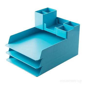 Aqua ułożone akrylowe akcesoria biurowe szuflady do przechowywania pulpit A4 listowe tace na dokumenty pojemnik na długopisy Organizer na biurko zestaw Organizer na biurko s tanie i dobre opinie Polar Color Z tworzywa sztucznego OFS265 Dokument tace