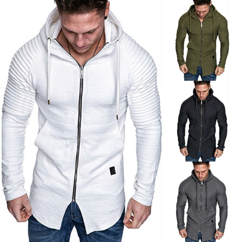 2019 Autumn Modis Men's Hooded Sweatshirts Slim Fit Long Sleeve Zipper Hoodies Muscle Top Casual White Male Coat Sweatshirt