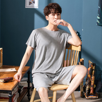 Men's Pajamas Summer Cotton Short-sleeved Cotton Spring and Autumn Men's Pajamas Home Service Suit Fresh Style Short Sleeves