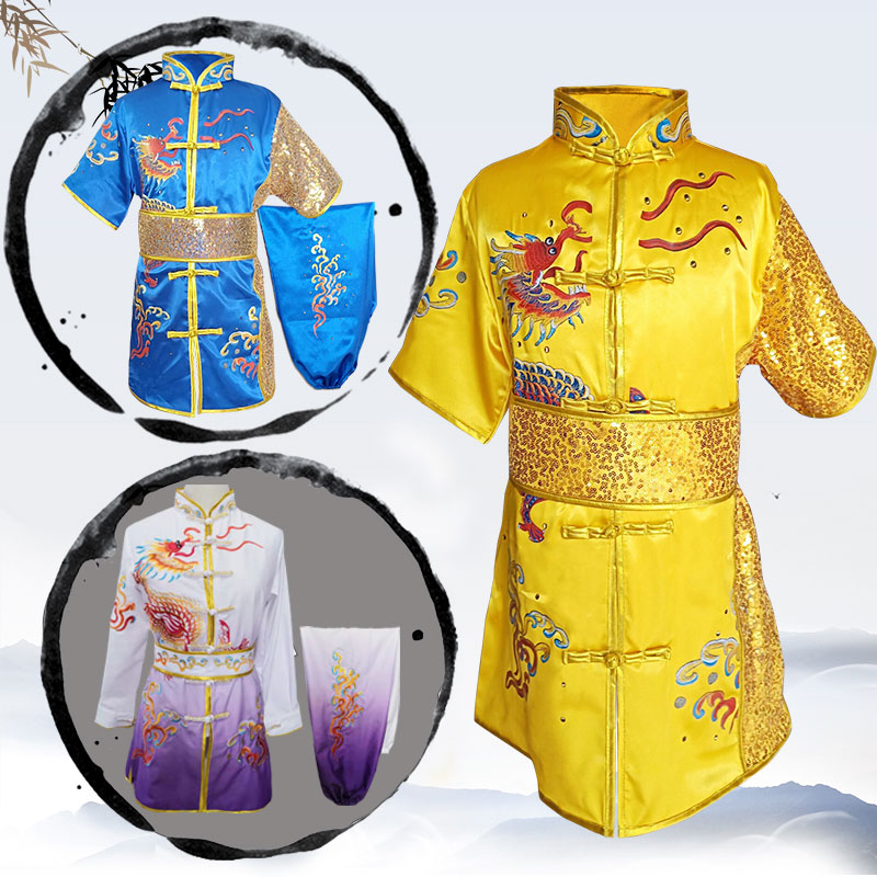 2019 Chinese Outfits For Kids Children Tai Wushu Kids Kung Fu Martial Arts Sets Performance Suit Embroidery Dragon Costumes
