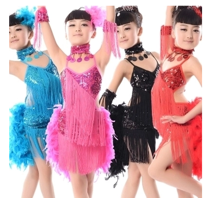 Kids Child Girls Latin Dress Sequin Tassel Latin Dress Samba Feather Costumes Ballroom Dance Competition Dresses