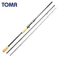 TOMA caña de pescar de carbono fundición Spinning 2,1 m 2,4 m 3 sección M potencia 6-16g señuelo de acción rápida aparejo de pesca de viaje