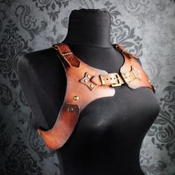 Steampunk bricolage matériel sac équestre ceinture harnais poitrine ceinture fait à la main en cuir motif dessin en cuir