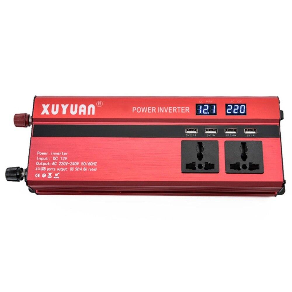 Xuyuan 2000W Tragbare Autos Fahrzeuge Leistungsstarke Inverter Ladegerät Mit Led-anzeige Converter 12 V/24 V Zu 220V
