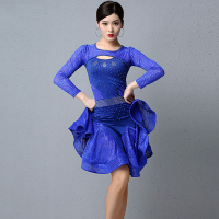 Latin Dance Dress For Women Adult Long Sleeve Diamond Lace Practice Dress Tango Samba Salsa Performance Stage Costume DQL3037