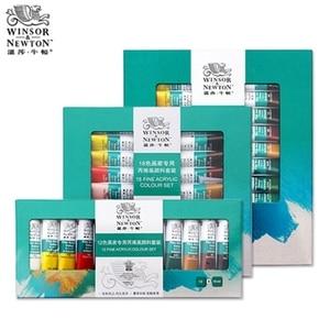 Image 3 - Winsor & newton conjunto de pinturas artesanais, pinturas profissionais de acrílico de 10ml, 12/18/24 cores, tecido, coloridas com brilho pigmentos