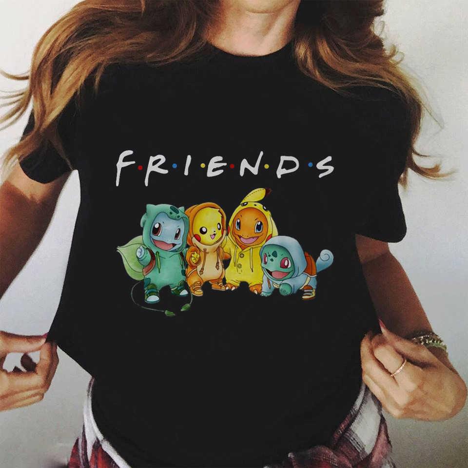Pokemon Amici Della Camicia Harajuku Kawaii T Delle Donne Della Camicia Ullzang Pikachu Divertente T-Shirt Cute Anime Grafici Maglietta 90s Top Magliette femminile