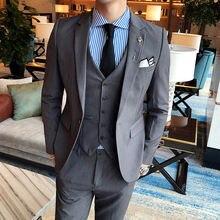 (Куртки + жилет брюки) 2019 Премиум брендовые Модные мужские