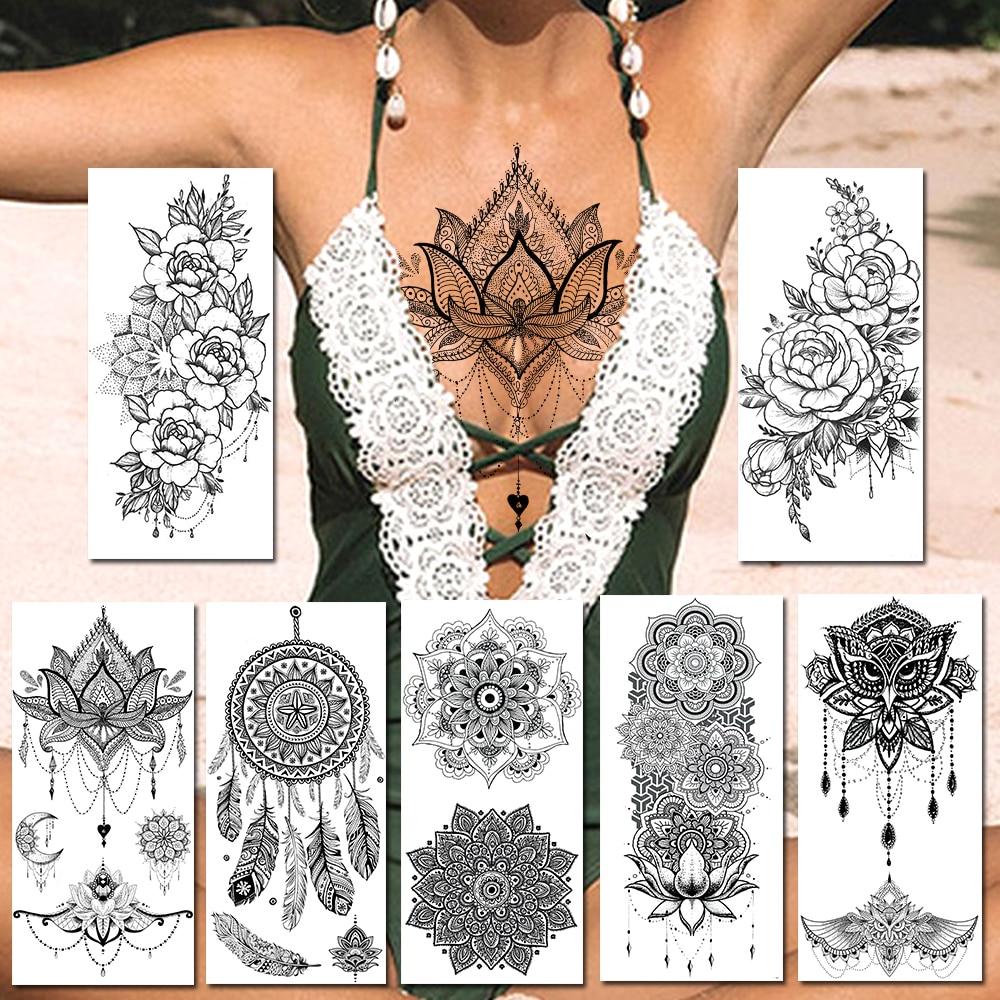 Black Henna Temporary Tattoos Sticker Realistic Fake Jewelry Mandala Flower Tattoos For Women Sexy Dreamcatcher Body Art Paper