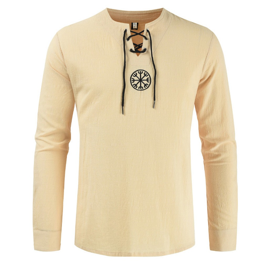 Hdc88b2e725ce4b8094e8fbf7c1beaea1G - Men's T shirt Drawsting Shirts Tops Blouses Fashion Cotton Linen Solid Medieval Retro Costume Long Sleeve Autumn Tops camisas