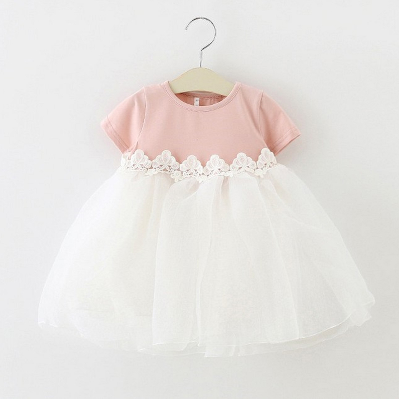 Newborn Infant Clothes Baby Girl Princess Dress Lace Floral Baptism Bow Little Girls Tulle Wedding Party Birthday Dresses